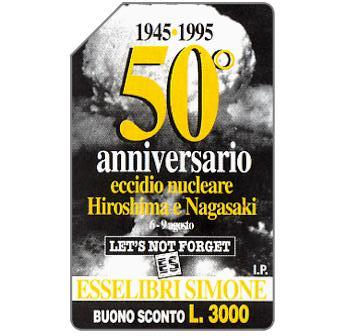 Phonecard for sale: 50° anniversario eccidio nucleare Hiroshima e Nagasaki, 30.06.96, L.1000