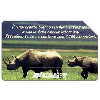 Phonecard for sale: Animali che lasciano un vuoto, rinoceronte bianco, 31.12.2003, L.5000