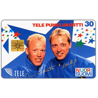 Phonecard for sale: Tele - Nuori Suomi, skiers, 30 mk