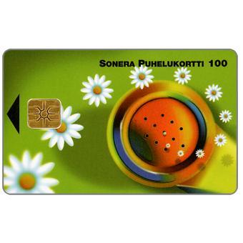 Phonecard for sale: Sonera - Handset & daisies, 100 mk