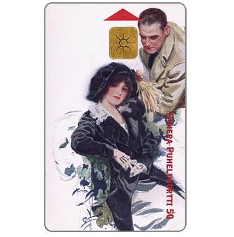 Sonera - Man & woman, vintage image, 50 mk