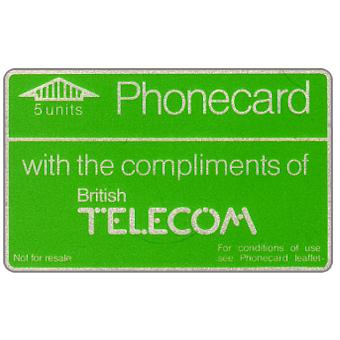 Phonecard for sale: Definitive 2nd series, no notch, complimentary card, 5 units