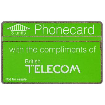 Phonecard for sale: Definitive 5th series, green band, complimentary card, 3 units