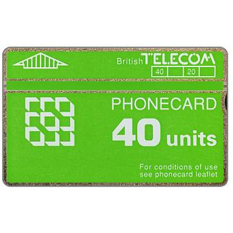 Phonecard for sale: Definitive 5th series, green band, 40 units