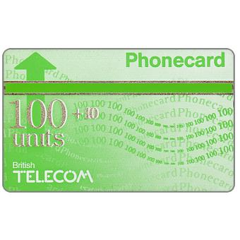 Phonecard for sale: Definitive 6th series, green band, 100+10 units