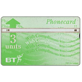 Phonecard for sale: Definitive 8th series, white band, no border, complimentary card, 3 units