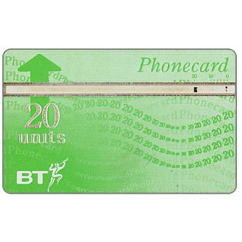 Phonecard for sale: Definitive 8th series, white band, no border, 20 units