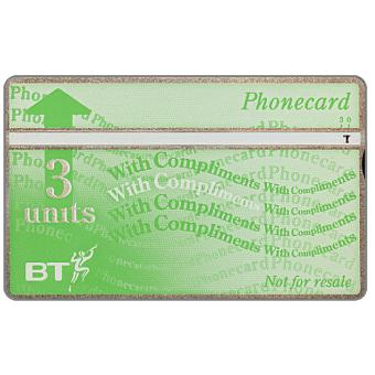Phonecard for sale: Definitive 9th series, white band, silver border, complimentary card, 3 units