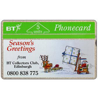 Phonecard for sale: Christmas '91, Fork Lift Truck, BT Collectors Club Overprint, 5 units