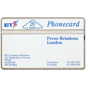 Phonecard for sale: Press Relations London (code 227A), 20 units