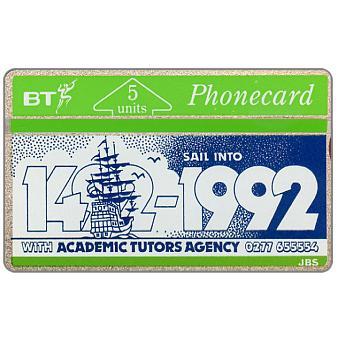 Phonecard for sale: Academic Tutors Agency, 1492-1992, 5 units