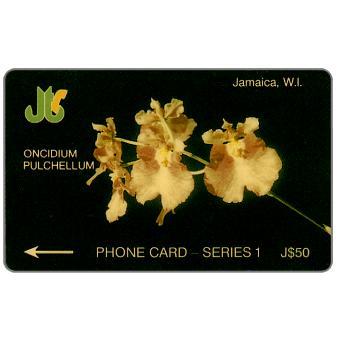 Phonecard for sale: First issue, Oncidium Pulchellum, 1JAMD, J$50
