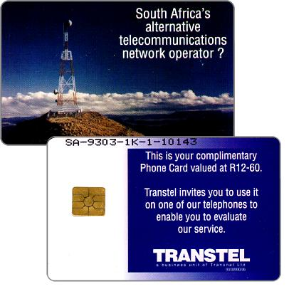 Phonecard for sale: Transtel - Trial card, complimentary, R12-60