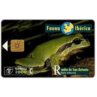 Phonecard for sale: Fauna Iberica, Ranita de San Antonio (Hyla arborea), 1000 pta