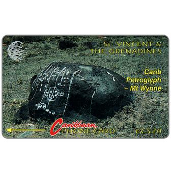 Phonecard for sale: Carib Petroglyph - Mt Wynne, large logo, 5CSVB, EC$20