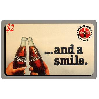 Phonecard for sale: Score Board - Coca-Cola, ...and a smile, two bottles, $2