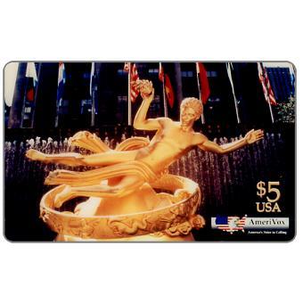 Amerivox - Gold Statue of Prometheus at Rockefeller Center In New York City, $5