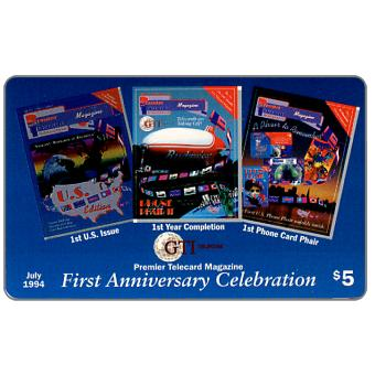 Phonecard for sale: GTI - Premier Telecard Magazine first anniversary, $5
