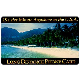 Phonecard for sale: New Media Telecommunications - Tropical Beach, 19 c. per minute Anywhere in the U.S.A.