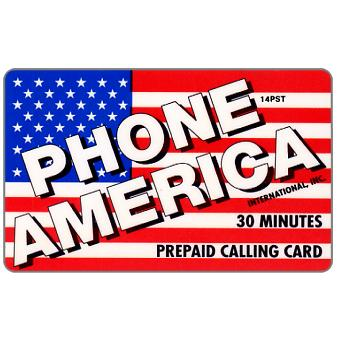 Phonecard for sale: Phone America International - U.S.A. flag, 30 minutes