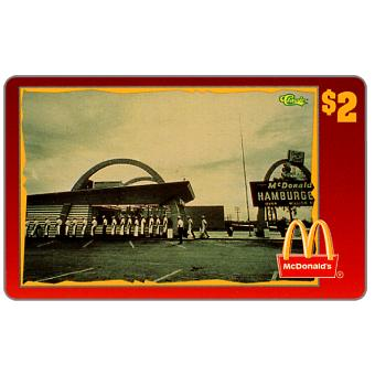 Phonecard for sale: Score Board - Mc Donald's Employees Entering Restaurant - 1940's, $2