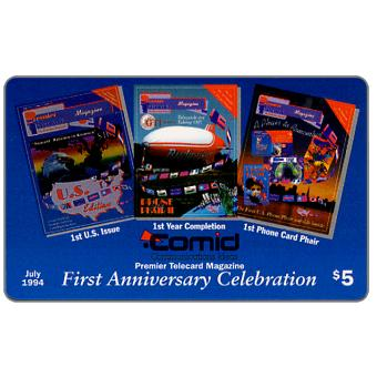 Phonecard for sale: Comid - Premier Telecard Magazine first anniversary, $5