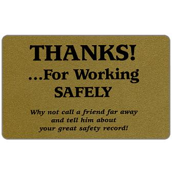 Teraco - Gold card, 'Thanks …for working safely', specimen