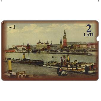 Phonecard for sale: Old views, waterfront, Riga, 2 Lati