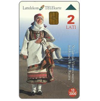 Phonecard for sale: Regional costumes, Region of Kurzeme, 2 Lati