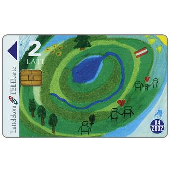 Phonecard for sale: Children's drawing, 2 Lati