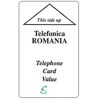 Phonecard for sale: Telefonica Romania, white card, 5 units