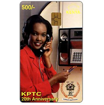 Lady at telephone ('Kenya' and value in yellow), 500 Sh