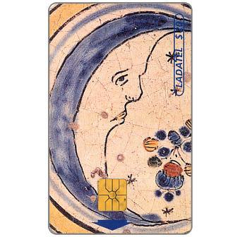 Ladatel, Majolicas, Azulejo policromo Luna, s.XVII, $20