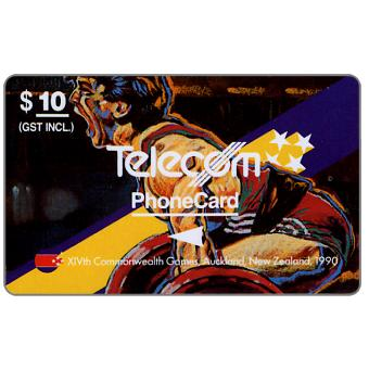 Phonecard for sale: Commonwealth Games, Weight Lifting, $10