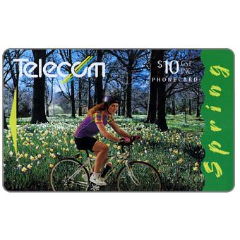 Four Seasons, Spring, girl on bicycle, $10