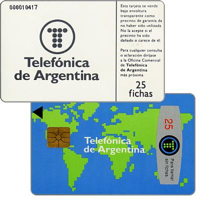 Phonecard for sale: Telefonica de Argentina - World map 1st series, with 0000 before control number, 25 fichas