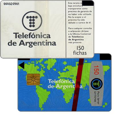 Phonecard for sale: Telefonica de Argentina - World map 1st series, with 0000 before control number, 150 fichas
