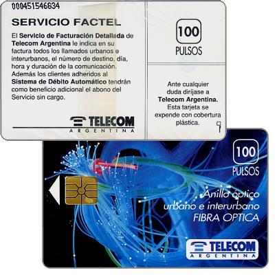 Telecom Argentina - Fibre optics, Servicio Factel, no price on back, 100 pulsos