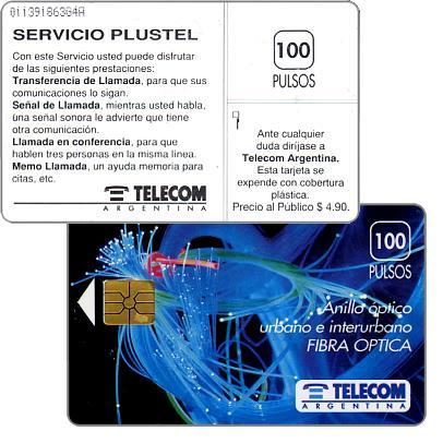 Telecom Argentina - Fibre optics, Servicio Plustel, with price on back, 100 pulsos
