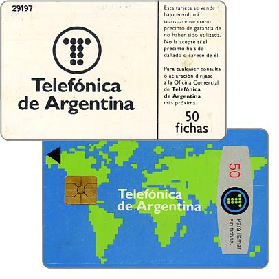 Phonecard for sale: Telefonica de Argentina - World map 2nd series, 50 fichas