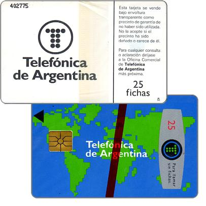 Phonecard for sale: Telefonica de Argentina - World map 3rd series, 25 fichas