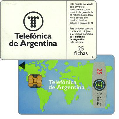 Phonecard for sale: Telefonica de Argentina - World map 4th series, 25 fichas