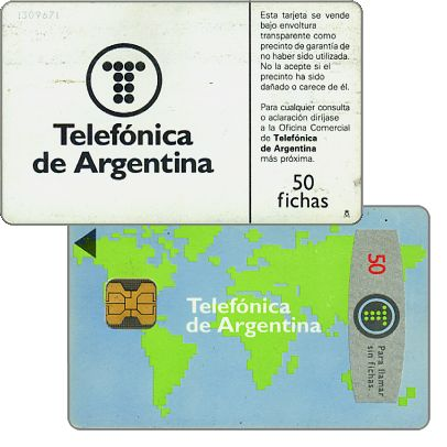 Phonecard for sale: Telefonica de Argentina - World map 4th series, 50 fichas