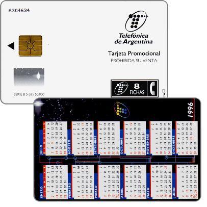 The Phonecard Shop: Telefonica de Argentina - Calendar 1996, promotional card, 8 fichas