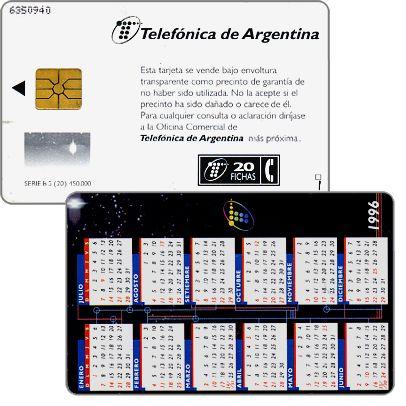 Telefonica de Argentina - Calendar 1996, 20 fichas
