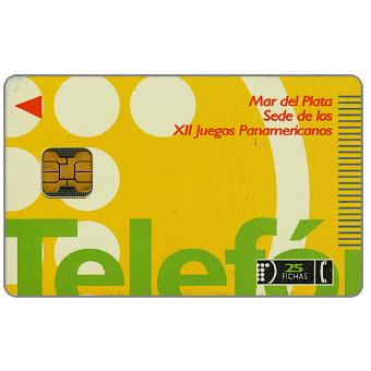 Phonecard for sale: Telefonica de Argentina - XII Panamerican Games, logo, 25 fichas