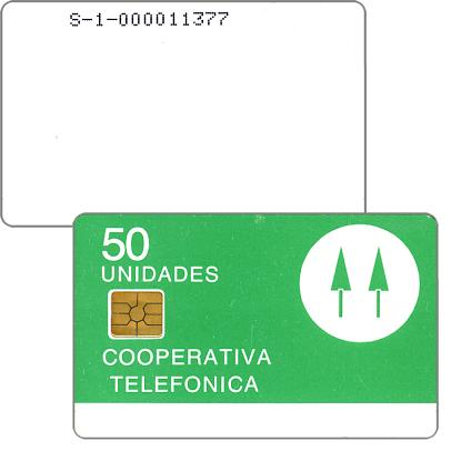 Phonecard for sale: Cooperativa Telefonica, with serial number, 50 unidades