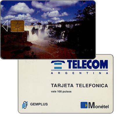 Telecom Argentina - Iguazu Falls, Monetel/Gemplus trial card used in Rosario (Santa Fe province), 100 pulsos