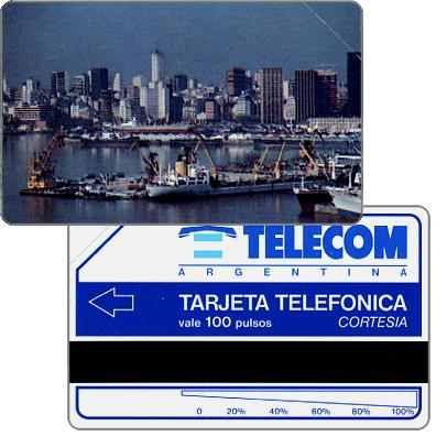 Telecom Argentina - First issue, Port of Buenos Aires, long units scale (56 mm), Complimentary 100 pulsos