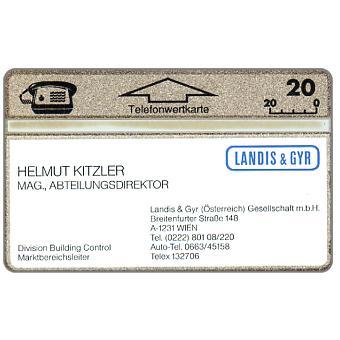 Visitkarten Landis & Gyr, Helmut Kitzler, 109K, 20 units
